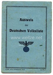 III. Reich - Ausweis der Deutschen Volkslistefür eine Frau des Jahrgangs 1861 aus Stawicka-Nieschawa
