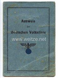 III. Reich - Ausweis der Deutschen Volkslistefür eine Frau des Jahrgangs 1892 aus Rososch