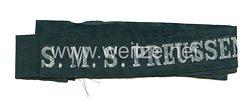 """Kaiserliche Marine Mützenband """"S.M.S. Preussen"""" in Silber"""