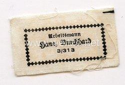 """Reichsarbeitsdienst (RAD) Namensetikett für die Uniform """"Arbeitsmann Hane Burckhard 3/313"""""""