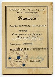 NSDAP Gau Bayer. Ostmark - Ausweis für eine Frau als Ortsreferentin im Hilfswerk
