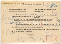 Sprechzettel für den Amtschef zur Verleihung das Eichenlaub zum Ritterkreuz des Eisernen Kreuzes an Hauptmann Andreas Kuffner am 20.12.1944
