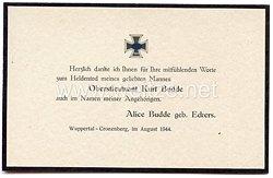 Trauerkarte zum Heldentod des Deutschen Kreuz in Gold Trägers Oberstleutnant Kurt Budde im August 1944