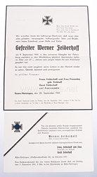 Wehrmacht Trauernachricht und Trauerkarte eines gefreiten eines Pionier Btl.