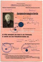 III. Reich - Ausmusterungsschein für einen Mann des Jahrgangs 1886 aus Hamburg