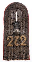 Preußen 1. Weltkrieg Einzel Schulterstück für einen Leutnant im Feld-Artillerie-Regiment Nr. 272