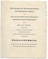 III. Reich - Reichsminister Dr.Goebbels und Reichsorganisationsleiter Dr.Ley - Einladungskarte für den Schauspieler Karl Martell