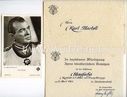 III. Reich - Der Bürgermeister der Stadt Oberleutensdorf - Dankeskarte für den Schauspieler Karl Martell