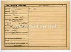 Der Deutsche Volkssturm - Erfassungsblatt für zu heranziehende Personen zum Aufgebot