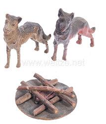 Lineol - 1. Weltkrieg 2 Hunden und 1 Lagerfeuer