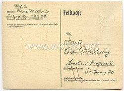 III. Reich - handschriftliche Feldpostkarte des Künstlers Wolfgang Willrich an seine Ehefrau Charlotte