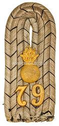 Preußen Einzel Schulterstück für einen Leutnant im 3. OstpreußischenFeldartillerie-Regiment Nr. 79