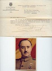 General Francisco Franco von Spanien - Postkarte mit Anschreiben