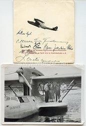Luftwaffe - Originalunterschriften der Besatzung des Dornier-Rekordflugbootes Do 18 D-ANHR von 1938