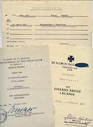 Kriegsmarine - Urkundentrio für einen späteren Oberbootsmannsmaaten der 5. Räumbootsflottille in Norwegen