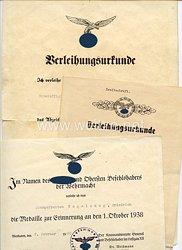 Luftwaffe - Urkundentrio für einen Obergefreiten und späteren Unteroffizier