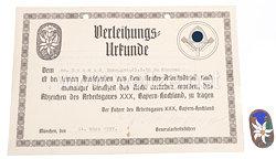 RAD Traditionsabzeichen des Arbeitsgau XXX - Bayern-Hochland ( Ostmark ) mit Verleihungsurkunde