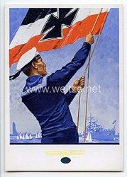 "III. Reich - farbige Propaganda-Postkarte - "" Marine-Volkswoche 1935 in Kiel """