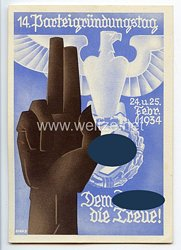 "III. Reich - farbige Propaganda-Postkarte - "" 14. Parteigründungstag 24.u.25.Febr.1934 - Dem Führer die Treue ! """