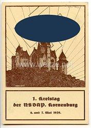 """III. Reich - farbige Propaganda-Postkarte - """" 1. Kreistag der NSDAP Korneuburg 6. und 7. Mai 1939 """" ( Burg Kreutzenstein - Österreich )"""