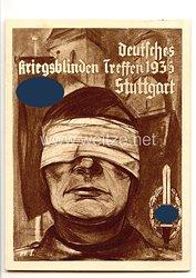 """III. Reich - farbige Propaganda-Postkarte - """" Deutsches Kriegsblinden Treffen 1935 Stuttgart - NSKOV """""""
