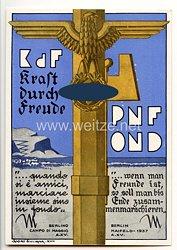 "III. Reich / Italien - farbige Propaganda-Postkarte - "" KdF Kraft durch Freude - PNF - OND Berlin Maifeld 1937 """