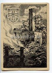 """III. Reich / Heer - Propaganda-Postkarte - """" Ruinen von Sielec am Morgen nach dem Sturm durch das Deutschmeister-Regiment 24. Juni 1941 """""""
