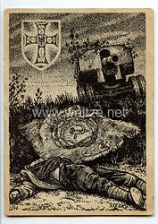 """III. Reich / Heer - Propaganda-Postkarte - """" Harte Kämpfe der Deutschmeister in der Kesselschlacht ostwärts Kiews 20. bis 27. September 1941 """""""