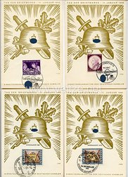 "III. Reich - 4 farbige Propaganda-Postkarten - "" Tag der Briefmarke 11. Januar 1942 """