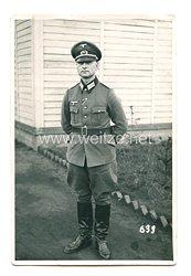 Wehrmacht Heer Foto, Oberleutnant mit Schirmmütze
