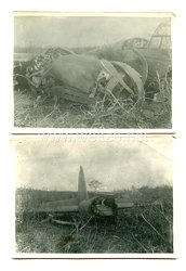 Luftwaffe Pressefoto: abgeschossener deutscher Bomber