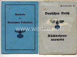 III. Reich - Dokumentenpaar für eine Frau des Jahrgangs 1915 aus Schönthal/Lemberg