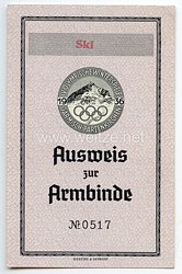 IV. Olympische Winterspiele Garmisch-Partenkirchen - Ausweis zur Armbinde Nr. 0517in der Kategorie