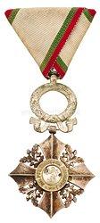 Bulgarien Zivilverdienst-Orden 1944-1946 6. Stufe Silbernes Verdienstkreuz mit Eichenlaubkranz