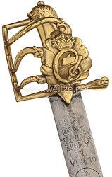 Königreich Dänemark Offiziers-Pallasch aus der Zeit König Christian VII. (1766-1808)