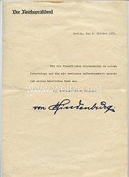 Reichspräsident Paul von Hindenburg - Faksimileunterschrift mit Foto