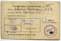 III. Reich - Generalgouvernement Distrikt Galizien - Der Stadthauptmann in Lemberg - Vorläufiger Ausweis der deutschen Abstammung