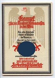 """III. Reich - farbige Propaganda-Postkarte - """" Kampf für 60 Tausend Volksgenossen in der Pfalz """""""