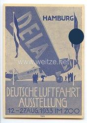 """III. Reich - farbige Propaganda-Postkarte - """" Deutsche Luftfahrt-Ausstellung Hamburg 12.-27.Aug.1933 im Zoo """""""