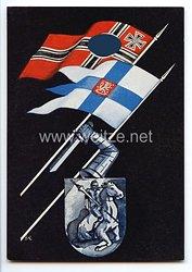 """III. Reich - farbige Propaganda-Postkarte - """" Deutschland - Finnland """" ( Saksan Kanssa Suomen Puolesta - Mit Deutschland im Namen von Finnland )"""