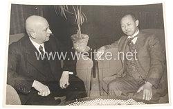 III. Reich Pressefoto: Präsident der Schwerindustrie von Mandschukuo Aikawa in Deutschland