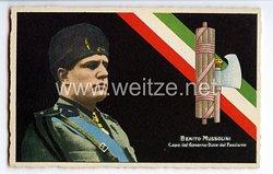 """III. Reich - farbige Propaganda-Postkarte - """" Benito Mussolini - Capo del Governo Duce del Fascismo """""""