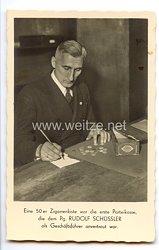 """III. Reich - Propaganda-Postkarte - """" Eine 50 er Zigarrenkiste war die erste Parteikasse die dem Pg. Rudolf Schüssler als Geschäftsführer anvertraut war """""""