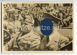 """III. Reich - Propaganda-Postkarte - """" Die historische Begegnung am 18.6.1940 - Mussolini / Hitler """""""