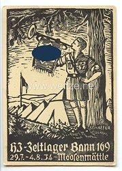 "HJ - Propaganda-Postkarte - "" HJ-Zeltlager Bann 169 29.7.-4.8.1934 Moosenmättle """