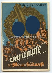 "III. Reich - farbige Propaganda-Postkarte - "" Wettkämpfe der SA-Gruppe Südwest Karlsruhe 2.u.3.Juli 1938 """