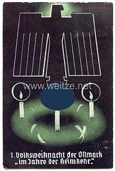 """III. Reich - farbige Propaganda-Postkarte - """" 1. Volksweihnacht der Ostmark im Jahre der Heimkehr ( 1938 ) """""""
