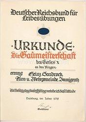 Deutscher Reichsbund für Leibesübungen ( DRL ) - Urkunde zur Gaumeisterschaft des Gaues X. im Jahre 1938