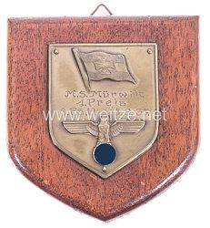 """Kriegsmarine - nichttragbare Auszeichnungsplakette von 1935 - """" M.S. Mürwik 1. Preis 8. F.S.W. 5.9.35. """""""