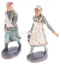 Elastolin - Krankenschwester mit Eimer und verwundeter Soldat gehend